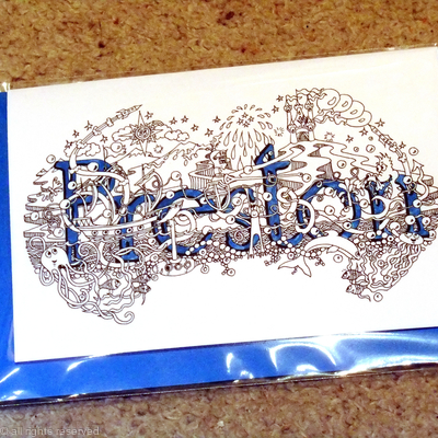 Preston name art card with blue envelope