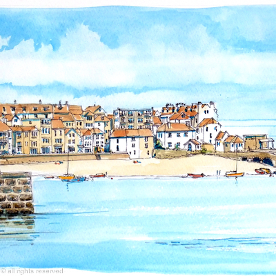St Ives harbour for greeting card