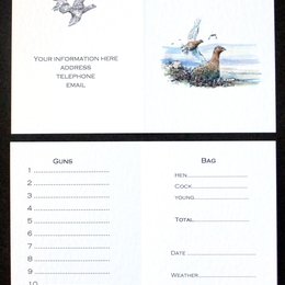 Grouse shoot card with your information