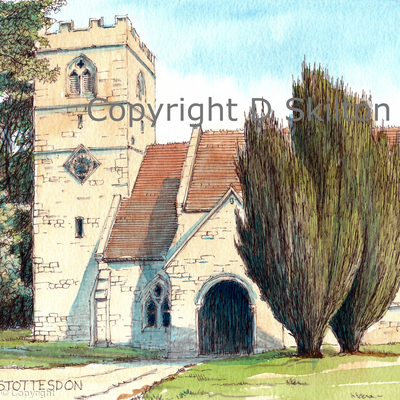 stottesdon church greeting card, notelet invitation or thank you card. prints and postcards available.