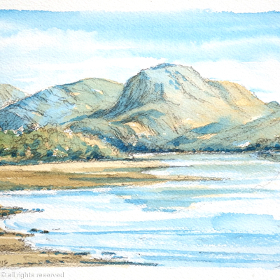 Ben nevis pencil and watercolour printed on greeting card
