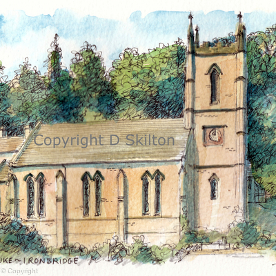Ironbridge st Luke church greeting card or notelet. prints and postcards available.