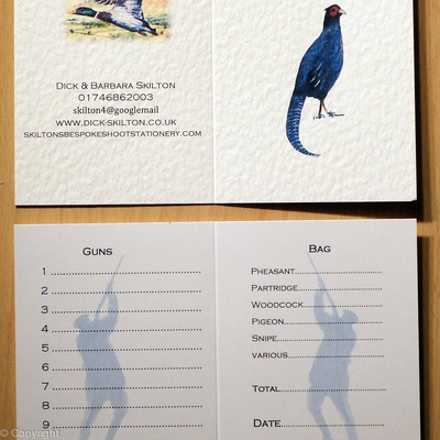 Melanistic Pheasant image on shoot card example