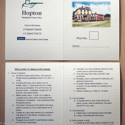 Simulates shoot card or game card example for Hopton simulated game