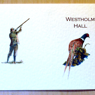 Westholm Hall pheasant front gun on the back example for shoot card
