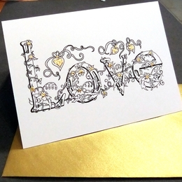 Love name card with my flower alpabet and gold envelope