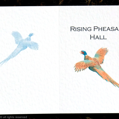 Rising Pheasant Hall shoot card outside