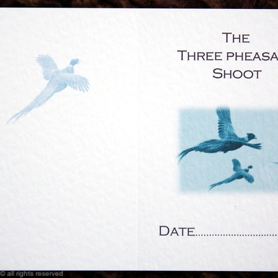 Three pheasant shoot (blue) possible shoot card outside