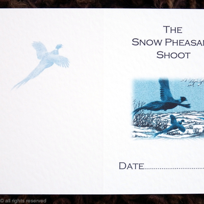 Pheasants over snow fields, shoot card