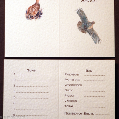 Partridge shoot, shoot card example