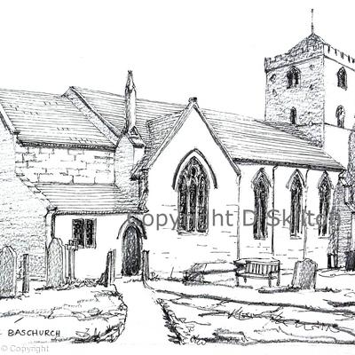 Baschurch Church All saints near Shrewsbury as a greeting card. Prints and postcards available.