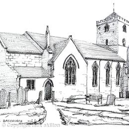 Baschurch Church All saints near Shrewsbury as a greeting card. prints available.