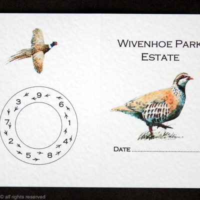 Shoot card example with Peg Wheel and pheasant footprints