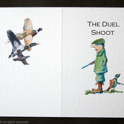 Shoot card with the duel cartoon