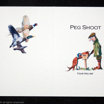'Your Peg Sir' cartoon shoot card example