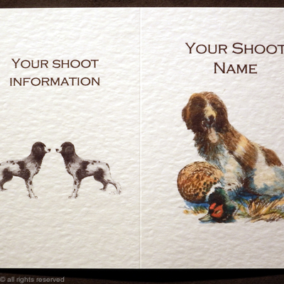 Shoot card with dog and dead pheasant coloured