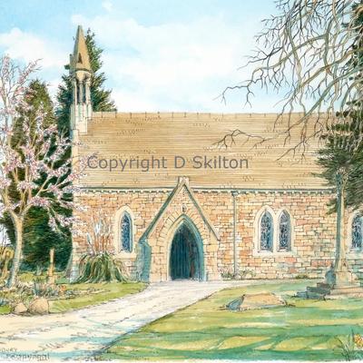 Oldbury Wells church St Nicholas Nr .Bridgnorth Shropshire painting as a greeting card. Prints available and also postcards.