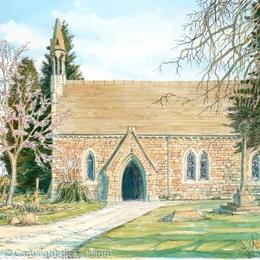 Oldbury wells church St Nicholas nr Bridgnorth Shropshire painting as a greeting card. prints available.