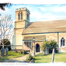 Grimley Church Worcestershire colour greeting card