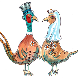 pheasants wedding cartoon