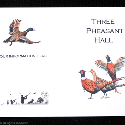 Three pheasant shoot card, possible layout