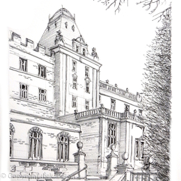 Matlock county hall pencil pen drawing as a print or card
