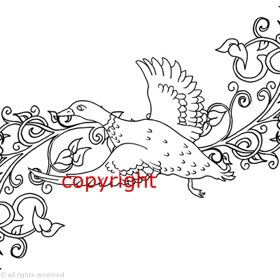 duck art nouveau style design for notelets or shoot cards etc.