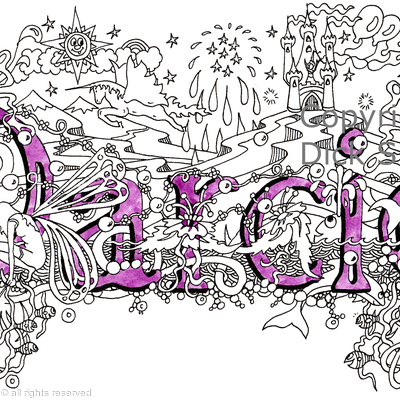 Darcie name art design as greeting card