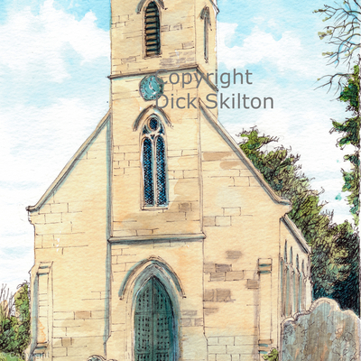 Cressage Church shropshire as a greeting card or notelet. digital prints, postcards and originals available.