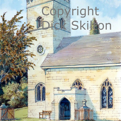 Hopton Wafers Church vertical greeting card or notelet or thank-you card. Digital prints on watercolour paper and postcards available.