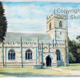 inkberrow st peters coloured Worcestershire as a greeting card