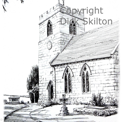 Ryton St Andrews pen drawing as a greeting card, invitation, thank-you card or notelet.