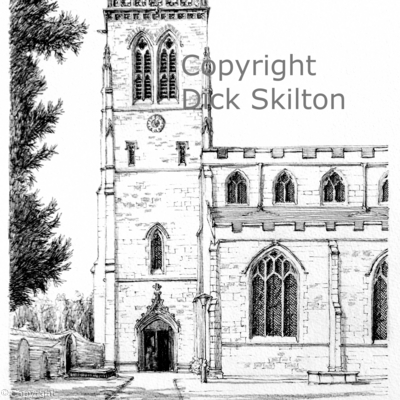 Broseley parish Church pen drawing as a greeting card, notelet, invitation or thank-you card.