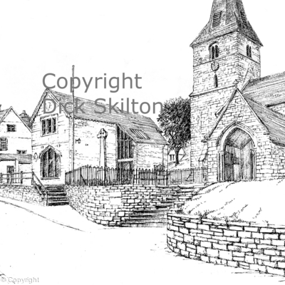 Cleobury Mortimer Church pen drawing as a greeting card, notelet or perhaps an invitation or thank-you card. Prints available also postcards.