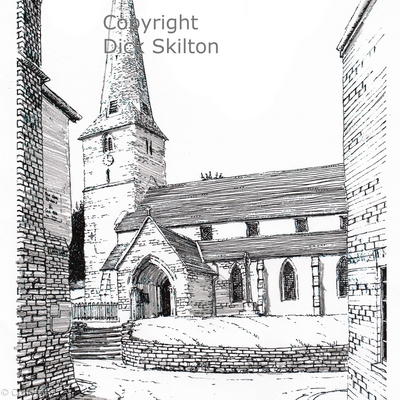 Cleobury Mortimer Church vertical pen drawing as a greeting card, notelet or thank-you card or invitation.