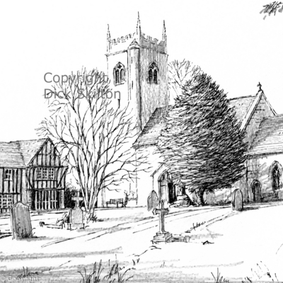 Highley Church pen drawing as a greeting card, notelet or thank-you card or invitations.