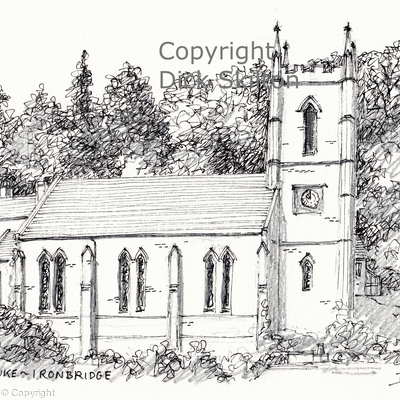 Ironbridge St. Luke pen drawing as a single greeting card, notelet thank-you card or invitations