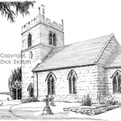 Ryton St Andrews pen drawing horizontal as a greeting card. Prints and postcards available.