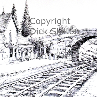Arley station S V R pen drawing as a  greeting card
