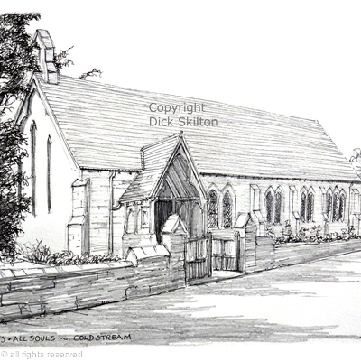 Coldstream church St Mary & all souls pen drawing as a greeting card
