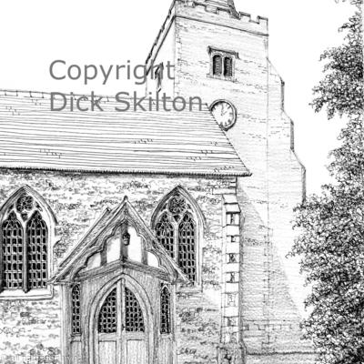 Danbury Church Essex pen drawing as a greeting card