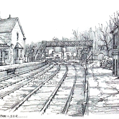 Highley Station with footbridge and museum pen drawing