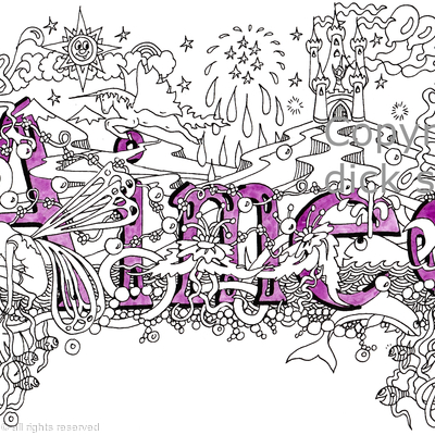 Aimee girls name art design as a greeting card . Prints and scans available on request.