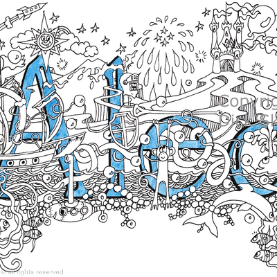 Alec boys name art design as a greeting card. Prints and scans available