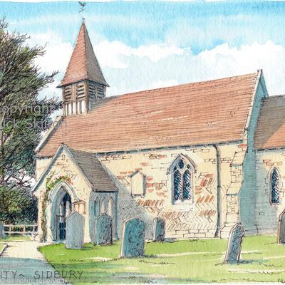 Sidbury Church Holy Trinity as a greeting card. Prints available.