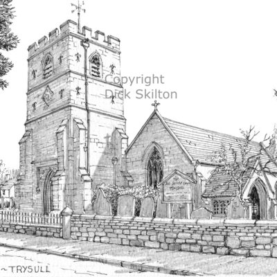 Trysull church staffordshire b & w pen drawing  as a greeting card