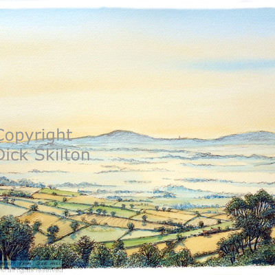 Abberley from Clee Hill sunrise (2) as a greeting card. prints available.