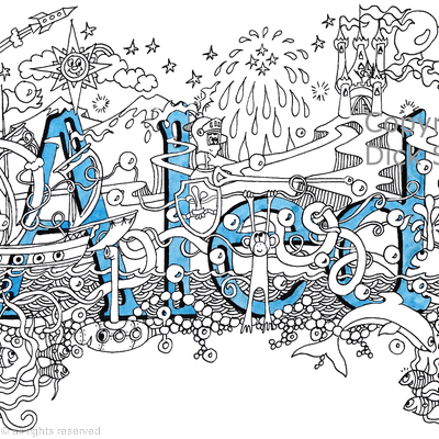 Aled name art design as a greeting card. Prints and scans available.