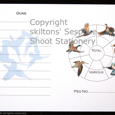 Inside page with 10 guns and bird wheel possible shoot card.