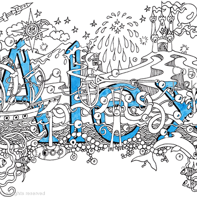 Alex boy's name art design as a greeting card